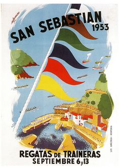 Donostia, 1953 Vintage Pictures, Vintage Images, Basque Country, Vintage Travel Posters, Poster Vintage, Travel Maps, Illustrations And Posters, Art Deco Fashion, Vintage Advertisements