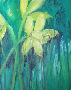 Original Acrylic Painting on gallery canvas Abstract of spring daffodils  on Etsy, $45.00