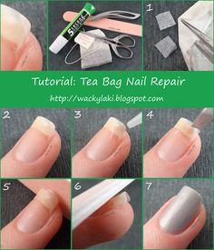 How to Repair Broken Nail Inspirational Wacky Laki Tutorial Tuesday Tea Bag Nail. Repair Broken Nail, Nail Repair, Love Nails, How To Do Nails, Pretty Nails, Glue On Nails, Diy Nails, Cracked Nails, Split Nails