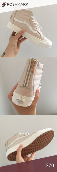 Vans Sk8Hi Women's Light Grey - Pink Hightops Never worn // grey toned light pink // gold back zip Vans Shoes Sneakers