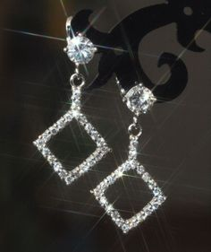 Sparkling Tiny Created Diamond Square Shape Earrings / Studs -W