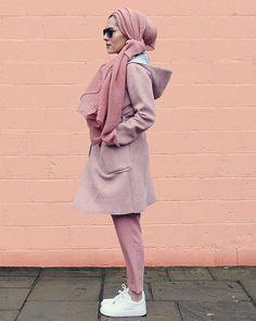 Dina Tokio. Love the textured hijab and the coat