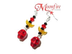 HALLOWEEN Red Skull and Crescent Moon Earrings