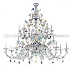 Aurora series handmade Murano chandelier 24 lights.