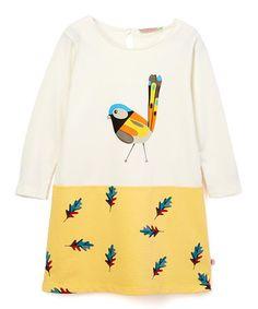 Another great find on #zulily! Cream & Gold Bird A-Line Dress- Infant, Toddler & Girls #zulilyfinds