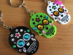 1 x Sugar skull blinged acrylic keyring  I make these myself they are laser cut then I hand paint them and bling them