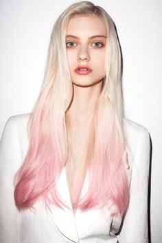 White Blonde Hair with Light Pink Ombre. #Hair