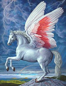 Pegasus is a majestic flying horse. Pegasus is depicted as a pure white horse with wings. Gorgon Medusa was the mother while Poseidon is said to be the father. When Perseus decapitated Medusa, out sprang the horse Pegasus and the giant Chrysaor. Unicorn Horse, Unicorn Art, Magical Creatures, Fantasy Creatures, Fantasy Kunst, Fantasy Art, Pegasus, Dragons, Greek And Roman Mythology