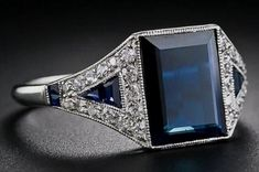 Antique Jewelry Art Deco Sapphire and Diamond Ring - - Lang Antiques Art Deco Ring, Art Deco Diamond, Art Deco Jewelry, Fine Jewelry, Jewelry Design, Cameo Jewelry, Sapphire Jewelry, Diamond Jewelry, Diamond Rings