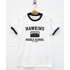 Hawkins Middle School AV Club Shirt Stranger Things Shirt Eleven... ($14) ❤ liked on Polyvore featuring men's fashion, men's clothing, men's shirts and men's casual shirts