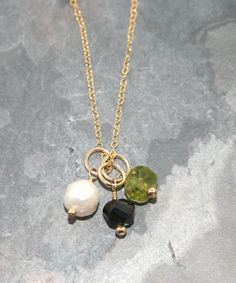 Chunky peridot nugget bead on 14k gold fill by jewelrybybellagrace