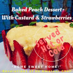 Baked Peach Dessert with Custard Baked Apple Dessert, Apple Desserts, Delicious Desserts, Baked Peach, Yummy Ice Cream, Canned Peaches, Cook Up A Storm, Baking Tins, Recipe Boards