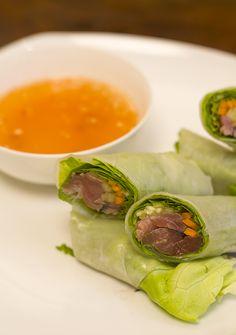 Tuna Tataki Summer Rolls with Apricot Chile Dipping Sauce