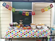 House warming party. Banner made from paint samples