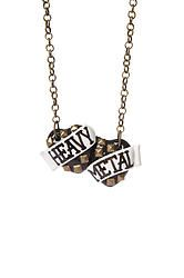 Heavy Metal small double heart necklace