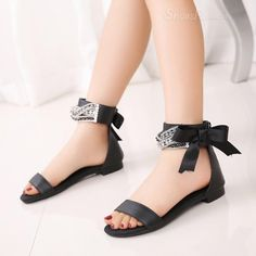 styling Shoespie Rhinestone Solid Color Flat Sandals