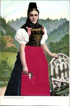 Präge Stoff Ak Schwarzwälderin in Tracht, Korsett, Rock
