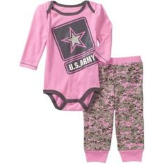 US Army Newborn Baby Girl Army Logo Long Sleeve Bodysuit and Pant Set, Size: 0 - 3 Months, Pink