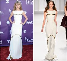"""taylorswiftstyle: """" 47th Annual Academy of Country Music Awards   Las Vegas, NV   April 1, 2012 J. Mendel Fall 2012 RTW This is more like it. Sexy cutouts on a simple white column dress accented by..."""