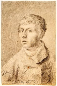 The chalk drawing Self-portrait, 1800, which portrays the artist at 26 was completed while he was studying at the Royal Academy in Copenhage