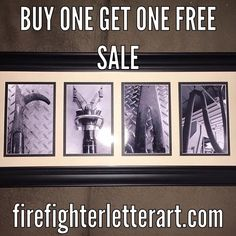 Letter art firefighters and firefighter gifts on pinterest for Personalized firefighter letter art