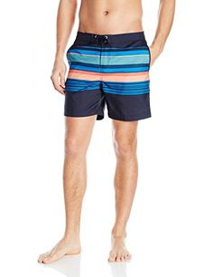 Introducing Original Penguin Mens Bold Engineered Stripe Fixed Volley Swim  Trunk Dark Sapphire 32. Great 2f193907cc8