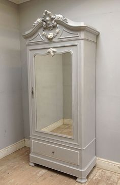 French single door armoire c1880 with beautiful rose carvings French Grey finish with highlights