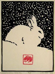 Happy New Year 1999  Andrew Valko RCA, Born Prague, Tchécoslovaquie 1957; étudié l'impression de bloc de bois au Japon avec le maître graveur Toshi Yoshida.