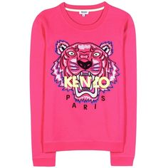 Kenzo Embroidered Cotton Sweatshirt ($220) ❤ liked on Polyvore featuring tops, hoodies, sweatshirts, pink, pink top, embroidered top, embroidery tops, cotton sweat shirts and sweat tops