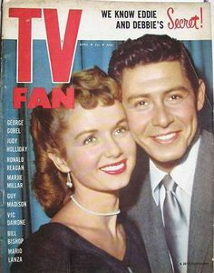 Debbie Reynolds and Eddie Fisher on the April 1955 TV Fan Todd Fisher, Eddie Fisher, Golden Age Of Hollywood, Hollywood Stars, Classic Hollywood, Hollywood Couples, Celebrity Couples, Debbie Reynolds Carrie Fisher, The Unsinkable Molly Brown