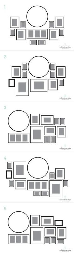 Layout for my gallery wall, I started with a large round clock. by Raelynn8