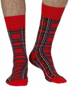 Royal Stewart men's fine cotton dress socks in red tartan Merino Wool Socks, Cotton Socks, Corgi Socks, Mens Designer Socks, Socks World, Silly Socks, Miss Match, Sock Shop, British Men