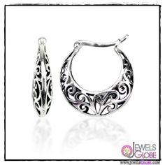 Sterling Silver Bali Inspired Filigree Round Hoop Earrings