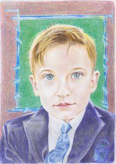 """""""Adolescentul"""" - creion color."""