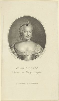 Willem van Senus | Portret van Carolina, prinses van Oranje-Nassau, Willem van Senus, Evert Maaskamp, 1787 - 1834 | Portret van Carolina in een ovaal. In de ondermarge haar naam en titel.