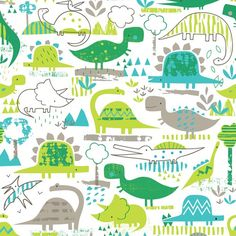 This bright dinosaur print fabric is premium cotton, and from the Dinosaur Days range by Dashwood Studios. This fabric is lightweight, and is Kids Patterns, Print Patterns, Dinosaur Fabric, Dinosaur Pattern, Baby Kind, Pattern Illustration, Kids Prints, Surface Pattern Design, Textile Patterns