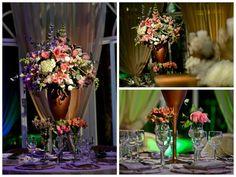 Arranjo mix de flores para mesa de convidados - Casamento Vanessa Azevedo e Bruno de Almeida