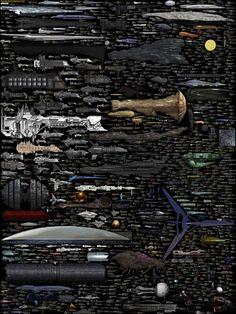 ¿Cómo es de grande la Estación Espacial Internacional comparada con un destructor imperial de Star Wars? ¿y si la comparamos con la Enterprise, con una fragata de Warhammer 40000 o con un leviatán Zerg? Todas estas preguntas tienen su respuesta en esta brutal comparativa de tamaños que su autor acaba de mejorar con nuevas naves y más datos.