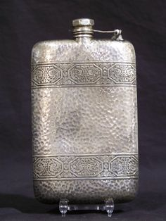 Vintage Hand Hammered Silver Flask by Apollo. Great hammered silver plated flask with a nice ornate design.Flask is a. on Jun 2013