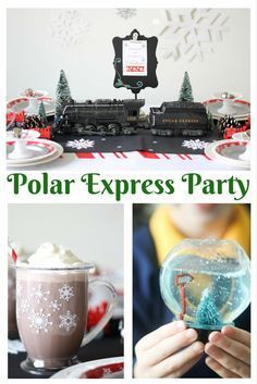 All aboard for a magical Christmas party! Inspired by the move, this Polar Express kids party from S Polar Express Christmas Party, Christmas Party Themes, Xmas Party, Christmas Birthday, Kids Christmas, Holiday Parties, Christmas Boxes, Holiday Movie, Christmas Pictures