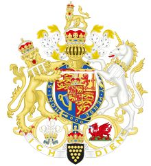 Arms of the Prince of Wales (United Kingdom).  The bottom includes the arms for the Duke of Cornwall (secondary title), the red dragon and three-feathers badge (for Wales).