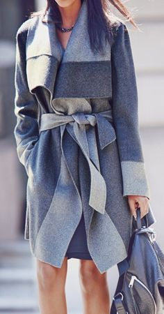 #street #style fall / gray belted coat