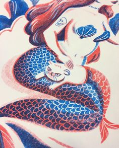Detail... #risograph Blue & Red ink print by Emily Chu.