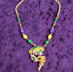 Mardi Gras Mask on Stick Necklace
