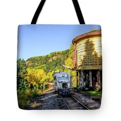Galloping Goose Tote Bag featuring the photograph Galloping Goose 5 At Locomotive Water Tank by Debra Martz