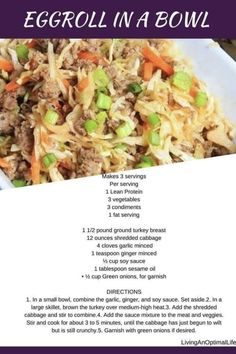 Eggroll in a bowl! I know, the perfect lean and green meal. Enjoy, and your welcome. Lean Protein Meals, Lean Meals, Hcg Meals, Medifast Recipes, Healthy Recipes, Skinny Recipes, Healthy Foods, Skinny Meals, Bariatric Recipes