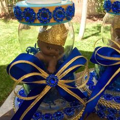 Royal blue Prince baby shower centerpiece by Marshmallowfavors