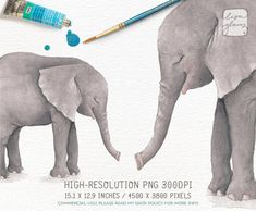 Watercolor elephant: hand painted printable wild animal