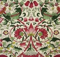 Lodden Fabric A beautiful fabric of scrolling flowers and foliage in rose and…