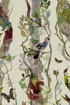 Birds & Beasts: 10 Animal Wallpapers that are Perfect for Grown-Up Spaces - 'Indie Wood' wallpaper by Timorous Beasties Wood Wallpaper, Animal Wallpaper, Pattern Wallpaper, Wallpaper Ideas, Cottage Wallpaper, Amazing Wallpaper, Plant Wallpaper, Timorous Beasties, Boho Home
